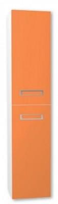 Závěsná skříňka vysoká HAPPY VK s košem na prádlo orange vysoký lesk bílá vysoký lesk
