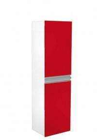 Skříňka vysoká FRESH s košem na prádlo bílá lesk červená vysoký lesk