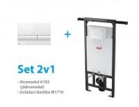 SET instalačního WC modulu Alcaplast A102/1200 a ovládacího tlačítka - AKCE