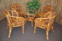 Ratanová sedací souprava Bahama 4+1 medová, polstr okrový
