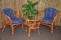 Ratanová sedací souprava Bahama cognac 2+1 modrá