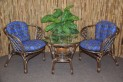 Ratanová sedací souprava Bahama hnědá 2+1, modrý polstr