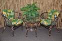 Ratanová sedací souprava Bahama hnědá 2+1, zelený polstr