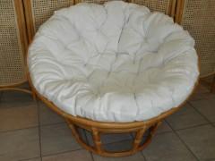 Ratanový papasan 110 cm LH bílý polstr