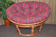 Ratanový papasan 110 cm Cognac, polstr červený