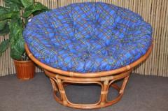 Ratanový papasan 110 cm Cognac, polstr modrý