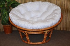 Ratanový papasan 110 cm Cognac, polstr bílý
