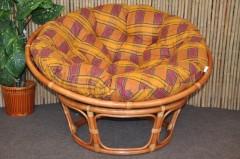 Ratanový papasan 110 cm Cognac, polstr okrový