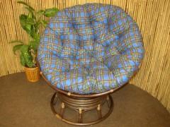 Ratanový papasan houpací Brown polstr modrý