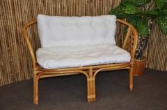 Ratanová lavice Bahama medová polstr bílý