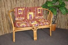 Ratanová lavice Bahama medová polstr hnědý list
