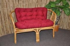 Ratanová lavice Bahama medová polstr vínový