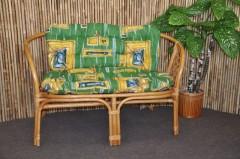 Ratanová lavice Bahama medová polstr zelený