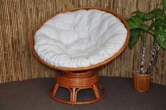 Ratanový papasan houpací koňak polstr bílý
