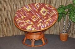 Ratanový papasan houpací koňak polstr hnědý list