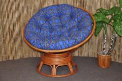 Ratanový papasan houpací koňak polstr modrý