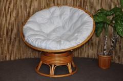 Ratanový papasan houpací medový polstr bílý