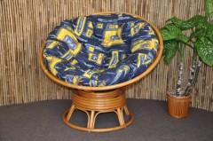 Ratanový papasan houpací medový polstr modrý list