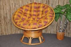 Ratanový papasan houpací medový polstr okrový