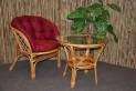 Ratanová sedací souprava Bahama 1+1 medová, polstr vínový MAXI