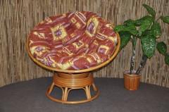 Ratanový papasan houpací medový polstr hnědý list