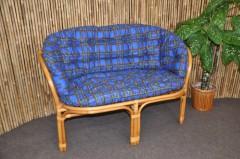 Ratanová lavice Bahama medová polstr modrý MAXI