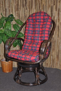 Ratanové křeslo Havai brown polstr červený