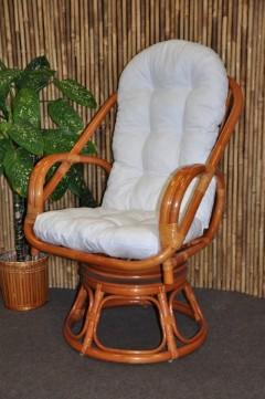 Ratanové křeslo Havai koňak polstr bílý