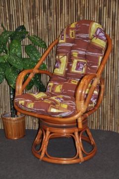 Ratanové křeslo Havai koňak polstr hnědý list
