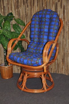 Ratanové křeslo Havai koňak polstr modrý