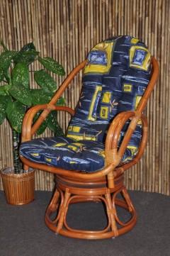 Ratanové křeslo Havai koňak polstr modrý list