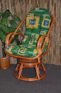 Ratanové křeslo Havai koňak polstr zelený