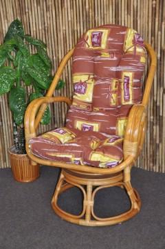 Ratanové křeslo Havai medové polstr hnědý list