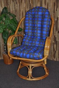 Ratanové křeslo Havai medové polstr modrý