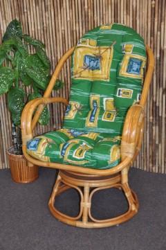 Ratanové křeslo Havai medové polstr zelený