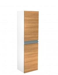Skříňka vysoká FRESH s košem na prádlo bílá lesk capuccino mat