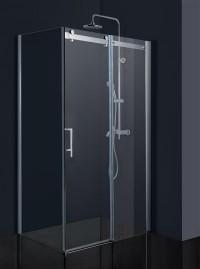Obdélníková sprchová zástěna BELVER KOMBI 140 x 195 cm dveře sklo čiré