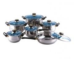 Sada nerezového nádobí CELESTE, 12 ks, barva modrá