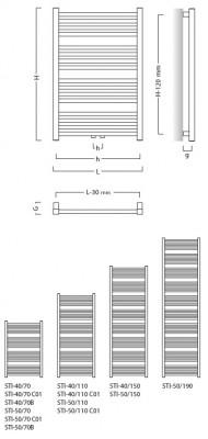 Koupelnový radiátor STICK RADSTI507012