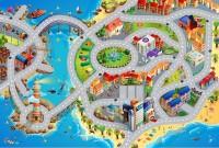 Dětský hrací koberec Město s pláží 80 x 120 cm
