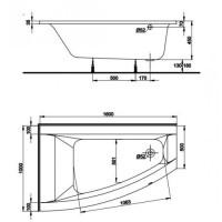 Asymetrická vana KOLO CLARISSA 170 x 105 cm, pravá