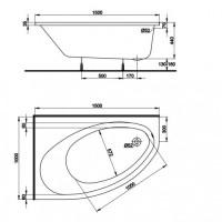 Asymetrická vana KOLO ELIPSO 150 x 100 cm, pravá