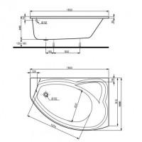Asymetrická vana KOLO AGAT 150 x 100 cm, pravá