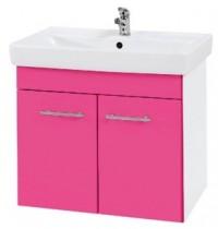 Závěsná skříňka s umyvadlem Q 700 D, růžová, šedý mat