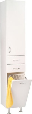 Skříň vysoká KERAMIA se zásuvkami a košem 35x184x29cm levá bílá