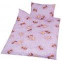Obliečky bavlna do postieľky - Méďa kytička ružová 1x 90 / 130 , 1x 45 / 60