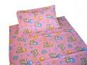Obliečky flanel do postieľky - Psík s balónikom ružový 1x 90 / 135 , 1x 60 / 40