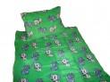 Obliečky mikrovlákno do postieľky - Psíček a mačička zeleňou 1x 90 / 135 , 1x 60 / 40