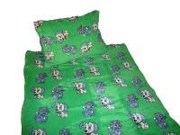 Povlečení mikrovlákno do postýlky - Pejsek a kočička zelení 1x 90/135, 1x 60/40