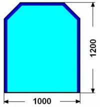 Kalené sklo - zkosený obdelník - 8 mm